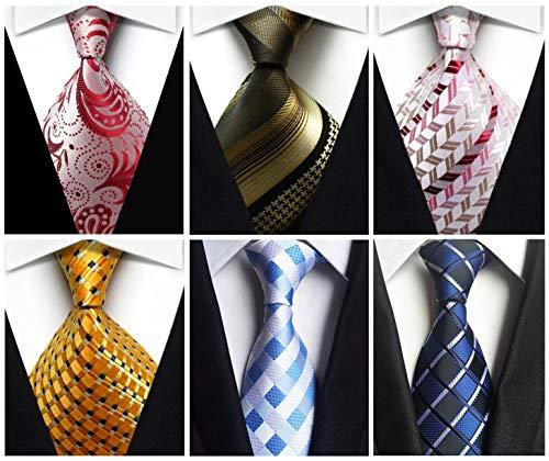 Wehug Lot 6 PCS Men's Ties Silk Tie Woven Necktie Jacquard Neck Ties Classic Ties For Men style024 ()