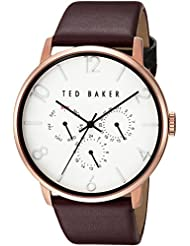 Ted Baker Mens Smart Casual Quartz Stainless Steel and Leather Dress Watch, Color:Red (Model: 10030765)