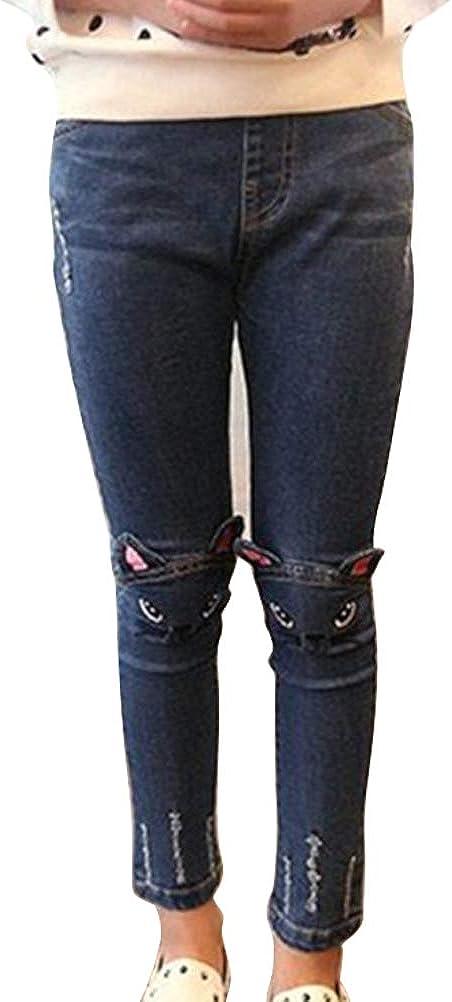 ARAUS Pantalon Jeans B/éb/é Enfants Leggings Jeans /à Motifs Chat Pantalon de Sport Collant Motif Imprim/é Doux Mignon et Confortable 2-9 Ans