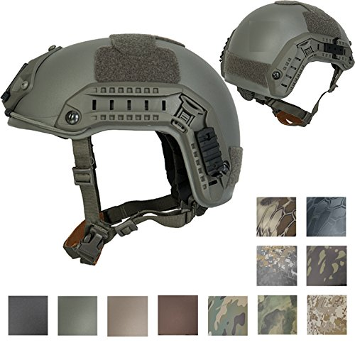 Lancer Tactical Large - X-Large Industrial ABS Plastic Constructed Maritime Helmet Adjustable Crown with 20mm Side Rail Adapter Velcro Padding NVG Shroud Bungee Retention (Foliage Green)
