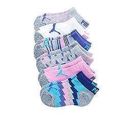 PUMA Girls\' 6-Pack Neon Chevron Socks S (5-6.5)