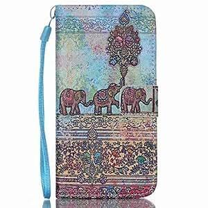 Elefante de la PU billetera de cuero caja del teléfono correa de mano para la galaxia s3 / s3mi / s4 / s4mini / s5 / s5mini / s6 / s6 ( Modelos Compatibles : Galaxy S6 Edge Plus )