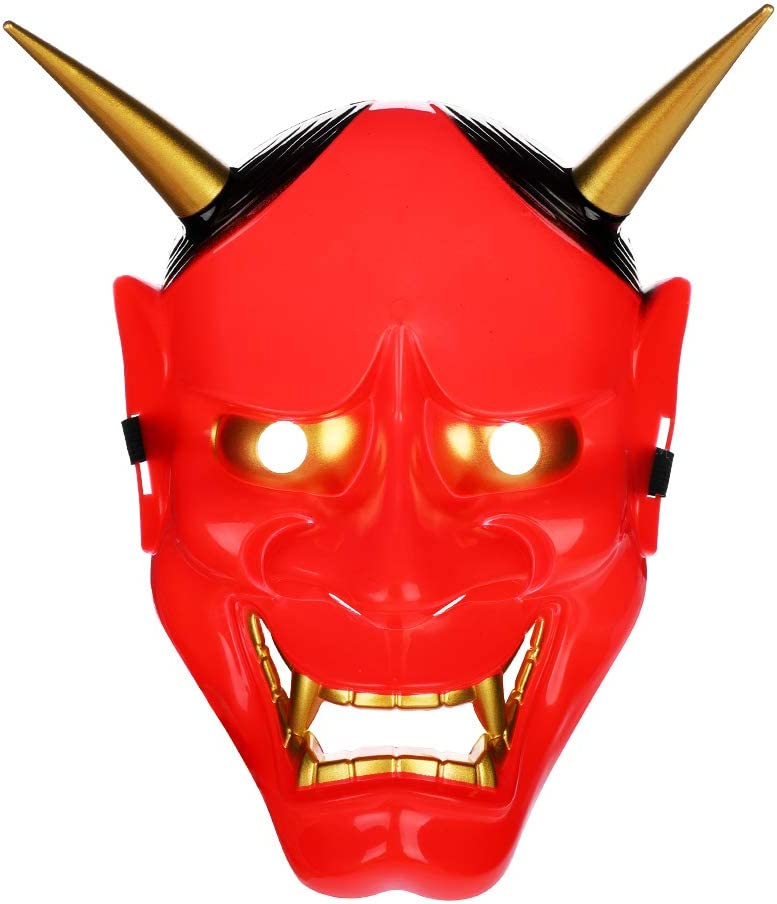 Maschera di Halloween Maschera da diavolo per adulti con corna rimovibile Maschera da demone Maschera horror Scary Head Mask Red Face Mask Fancy Dress for Masquerade Cosplay Theme Party