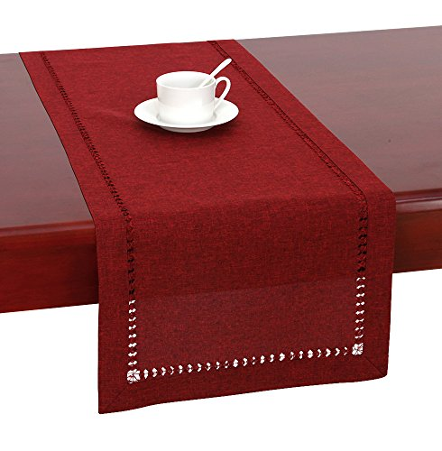 Handmade Hemstitched Polyester Rectangle Cranberry product image