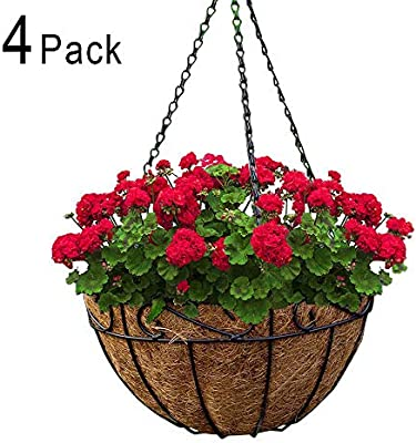 New Metal Hanging Planter Coconut Basket Round Steel Wires Plant Holder Decor Hanging Flower Pots Outdoor Hanging Baskets Garden Supplies