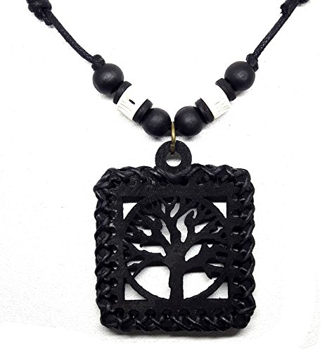 Fortune Girls Cookie Costumes (Handmade Hawaiian Style Beach Boy Men Yoga Black Tree of Life Wood Pendant)