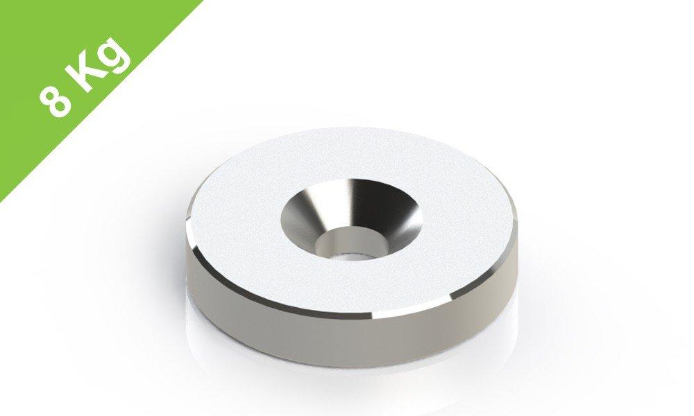 Neodym Scheibenmagnet mit Bohrung und Senkung Grade N45 4.5mm Bohrung 20x4mm