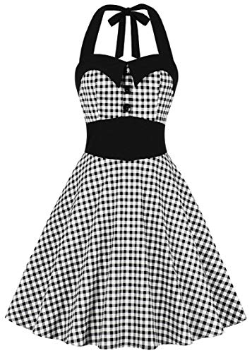 Nihsatin Women's Vintage Plaids Audrey Dress 1950s Halter Retro Cocktail - Halter Gown Print