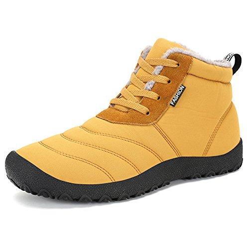 ROSEUNION Unisex - Erwachsene Herren Damen Winterschuhe Warm Gefüttert Winter Stiefel Wasserdicht Schnür Boots Schneestiefel Outdoor Freizeit Schuhe Gelb