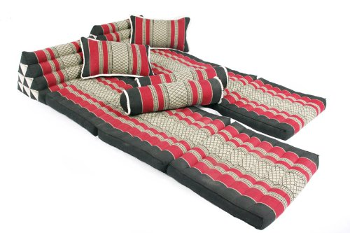 Thai Mats Set: 2x 3-fold + 2x Pillows 45x28 + 2x Bolster 50x15 (Thai Fabric Burgundy&black) 100% Kapok Filling by Handelsturm