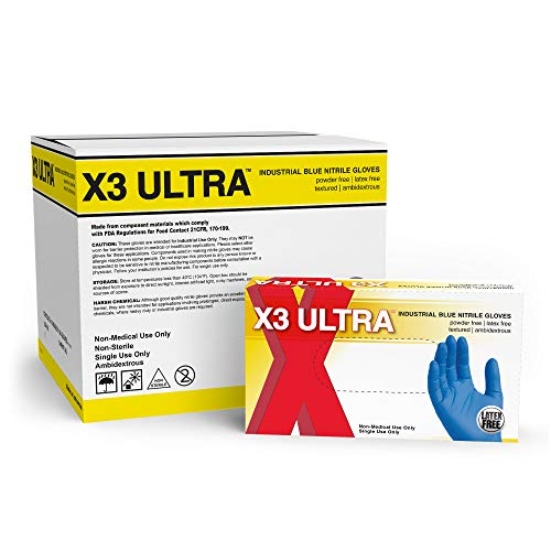 X3 Ultra Industrial Blue Nitrile Gloves – 2.5 mil, Latex Free, Powder Free, Textured, Disposable, Small, XUNPF42100…