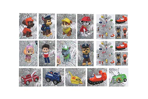 PAW PATROL 12 Piece Christmas Ornament Set Featuring Skye, Marshall, Chase, Rubbie, Zuma, Rocky, Ryder and Vehicles, Ornaments Average 1