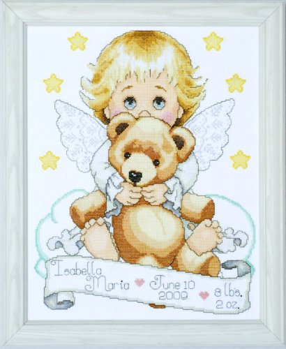 Tobin T21712 14 Count Angel Birth Record Counted Cross Stitch Kit, 11 by (Angel Cross Stitch Kit)