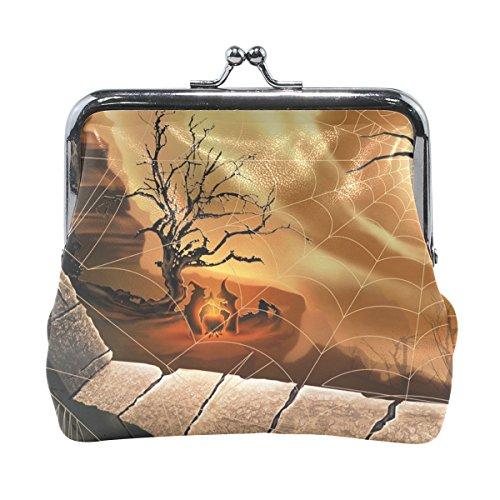 Vipsk Halloween Rampart Spider Magic Oven coin wallet Print Mom Gift Ideas PU Leather Wallet Card Holder Coin Purse Clutch Handbag