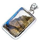 "Labradorite 925 Sterling Silver Pendant 1 1/2"" - Handmade Jewelry PD616470"