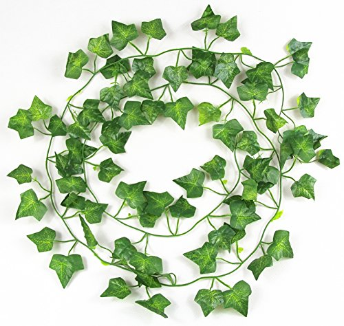 RayLineDo® Pack of 12PCS 7.87ft Artificial ivy Green Vine Leaf Garland Plants Fake Foliage Flowers - Ivy With Green