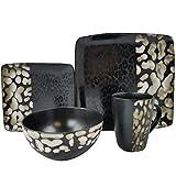 Elama ELM-SAVANNAH 16 Piece Stoneware Dinnerware, 16pc set