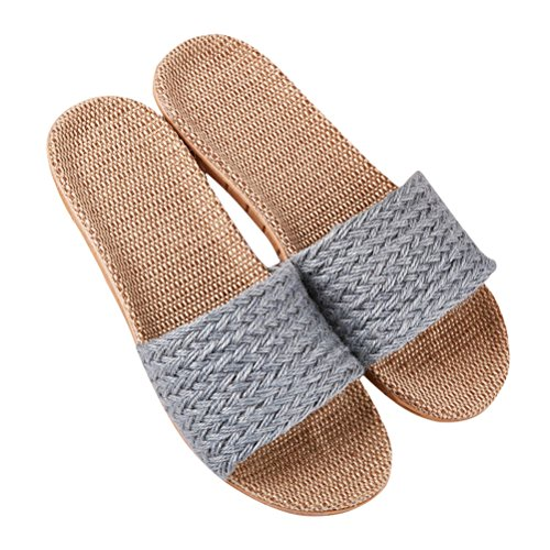 Blue Slippers Home Flax Slipper Open Slipper Slipper House Women Breathable Men Lightweight NEAER for Bedroom toe ZpHAA