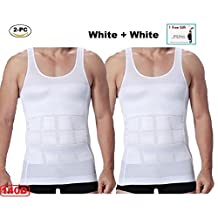 2pc Mens Slim Body Shaper Compression Undershirt (2 white or 2 black) +1 RREE GIFT
