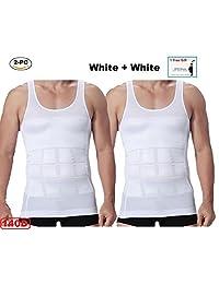 2pc Mens Slim Body Shaper Compression Undershirt (2 white or 2 black) +1 RREE GIFT