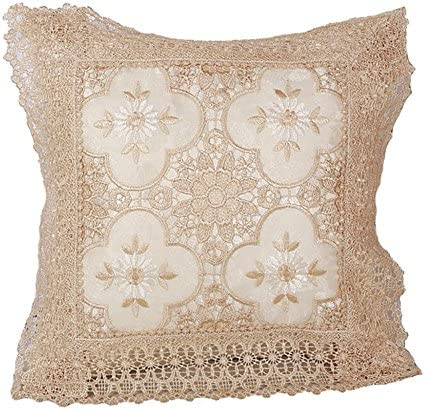 Violet Linen Luxurious Braided Decorative Lace Cutwork Design Throw Pillow 18 x 18 Ivory