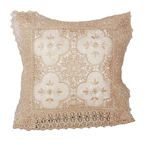 Violet Linen Luxurious Braided Decorative Lace Cutwork Design Cushion Cover, 18