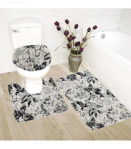 Mk Home LLC 3pc Bath Set Black,Gery and White Floral Print for The Bathroom Cashmere Anti-Slip Water Absorbent Mats New (B1323)