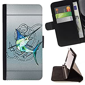 For Samsung Galaxy A3 Silver Sailfish Fishing Club Blue Fish Beautiful Print Wallet Leather Case Cover With Credit Card Slots And Stand Function