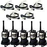 Retevis RT-6S Walkie Talkie 6W Single Band UHF 400-520MHz 16CH CTCSS/DCS Scan Two Way Radio with Original Earpiece (5 Pack) and 2 Pin Covert Acoustic Earpiece (5 Pack)