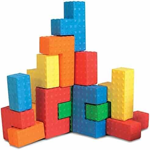 Edushape Easy Grip Soft Foam Sensory Puzzle Blocks, 18 Piece