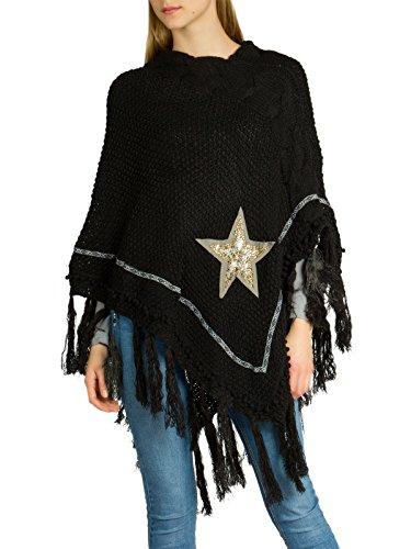 CASPAR PON036 Poncho tricot grosses mailles franges et