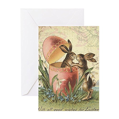 CafePress - Vintage French Easter Bunnies In Egg - Greeting Card, Note Card, Birthday Card, Blank Inside Glossy