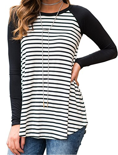 Halife Women's Striped Solid Raglan Long Sleeve Sports Tunic T Shirt Blouse Tops