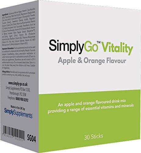 SimplyGo Vitality - Multivitaminas con algas marinas - Deliciosa bebida sabor a manzana y naranja - SimplySupplements: Amazon.es: Salud y cuidado personal