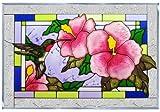 Hummingbird Hibiscus Horizontal Art Glass Panel 14 x 20