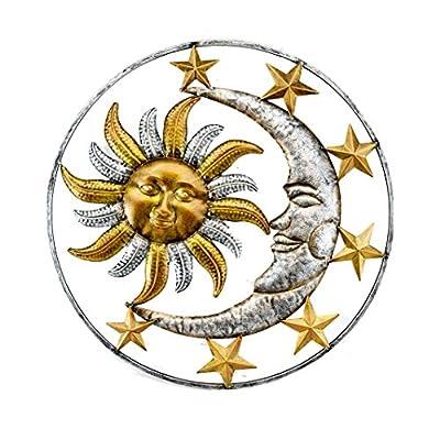 Metal Wall Sculptures Celestial Sun Moon And Stars Indoor/Outdoor Metal Wall Sculpture 17 X 17 X 0.13 Inches Orange