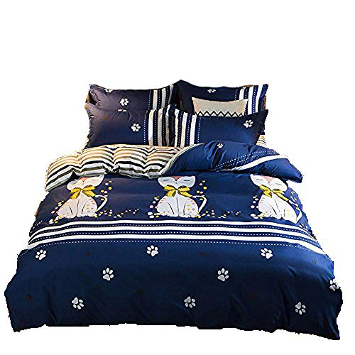 Bed Set Kids Bedding Sets 4pcs One Duvet Cover Without Comforter One Flat Sheet Two Pillow Cases NM Twin Sheets Set Cat Dog Squirrel Design for Kids Adults Teens (Twin, - Nova Nm