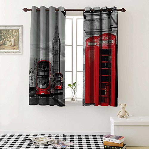 shenglv London Drapes for Living Room London Telephone Booth in The Street Traditional Local Cultural Icon England UK Retro Curtains Kitchen Window W96 x L72 Inch Red Grey