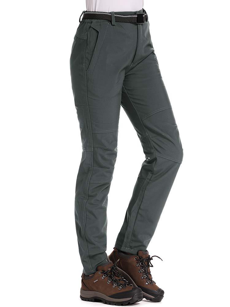 Jessie Kidden Womens Fleece-Lined Soft Shell Hiking Fishing ski Pants Insulated Waterproof Wind Resistant Mountain Trousers,5088F,Grey,US XL by Jessie Kidden