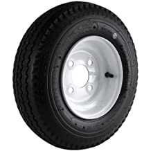 """Kenda Loadstar (8x3.75""""/4x4"""") Wheel with White Powder-Coat Pinstripe Finish LRB and Trailer Tire Assembly (480/400-8)"""
