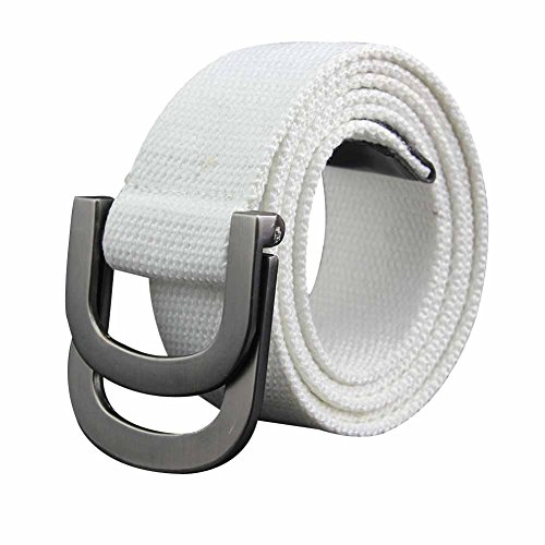 [Sitong Unisex casual fashion double loop buckle canvas belt(white)] (Ladies Canvas Belts)