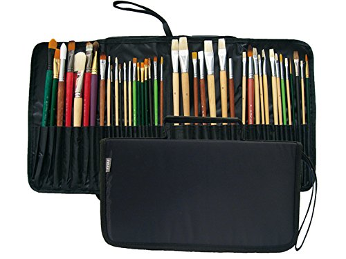 Prat Start Expandable Brush Case with Water-Resistant Nylon Cover, Holds 44 Long Handle Brushes for Easy Transport, 15 X 6.5 X 1.5 inches, Black (BC2-L)