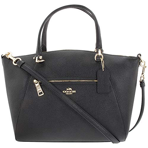 COACH Women's Pebbled Prairie Satchel LI/Black ()
