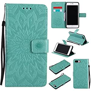 iPhone 7 Plus Case, iPhone 8 Plus Case, Love Sound [Wrist Strap] [Stand] Emboss Sunflower PU Leather Wallet Flip Protective Case Cover with Card Slots for Apple iPhone 7 Plus / iPhone 8 Plus (Green)