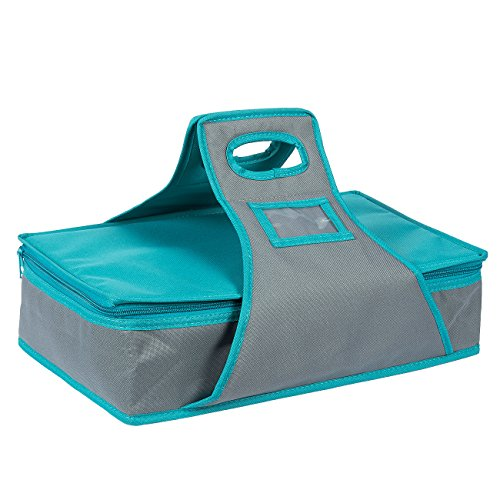 Casserole Dish Carrier - Rectangle Insulated Thermal Food Carrier for Lunch, Lasagna, Potluck, Picnics, Vacations - Teal and Grey, 16 x 10 x 4 inches