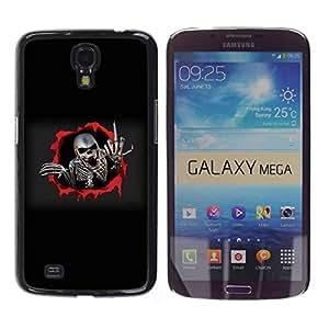 Carcasa Funda Prima Delgada SLIM Casa Case Bandera Cover Shell para Samsung Galaxy Mega 6.3 I9200 SGH-i527 / Business Style Metal Skeleton Middle Finger