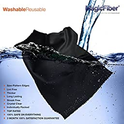 "(TV/LAPTOP Pack) MagicFiber Microfiber Cleaning Cloths - Extra Large Cloths Specially Designed for Large LCD, LED, 4K, 3D, Plasma TV Screens and Other Delicate Surfaces (3 Black 16x16"", 1 Grey 6x7\"