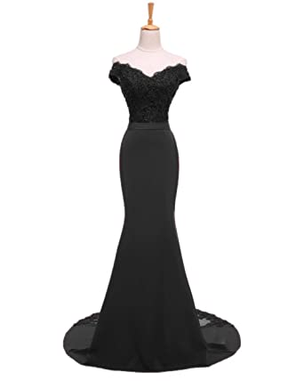 Sweet Bridal Womens Mermaid Long Evening Gowns Beaded Lace Prom Dresses Black US2