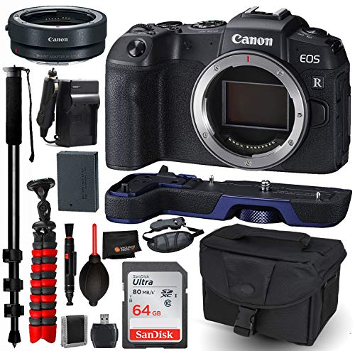 Canon EOS RP Mirrorless Digital Camera (Body Only) Accessory Bundle – Canon EG-E1 Extension Grip (Blue) + Canon Mount Adapter EF-EOS R + SanDisk Ultra 64GB SDXC UHS-I Memory Card + More