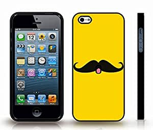 iStar Cases? iPhone 4 Case with Cute Face Mustache, :P on Yellow Background , Snap-on Cover, Hard Carrying Case (Black)